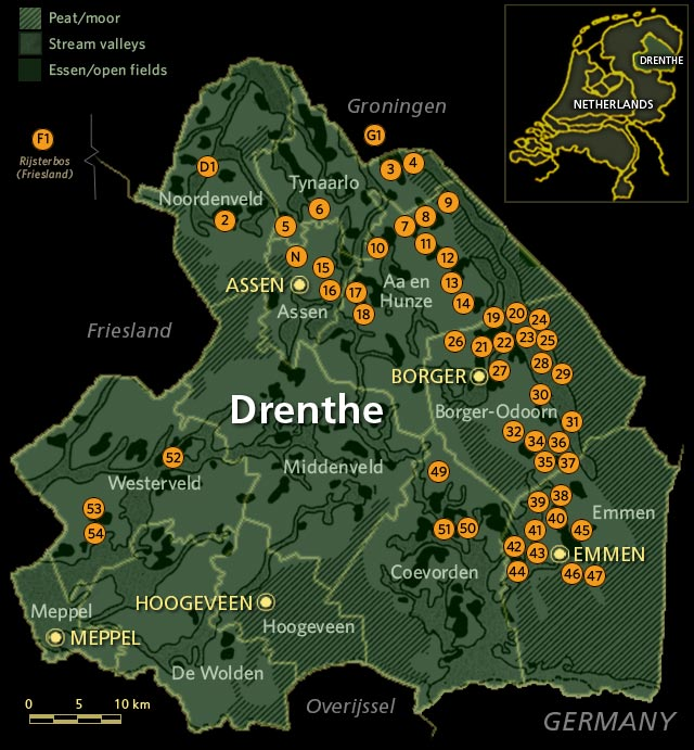 JohnKuipersca Hunebed Map of Drenthe